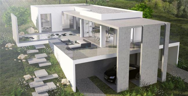 Architecte pour construction maison et villa moderne lyon cubik architecture - Plan maison terrain pente ...